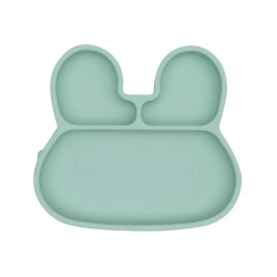 Silicone plate with a suction cup Bunny We Might Be Tiny - Minty Green