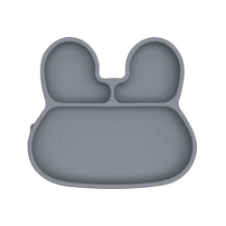 Silicone plate with a suction cup Bunny We Might Be Tiny - Grey