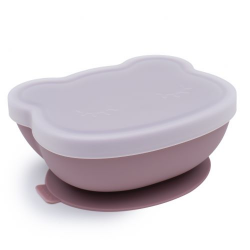 A silicone bowl with a suction cup and a lid. We Might Be Tiny Bear - Dusty Rose